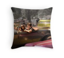 Portrait of a Hot Rod Couple Throw Pillow
