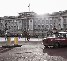 London cab at Buckingham Palace by Rodderrick Sota