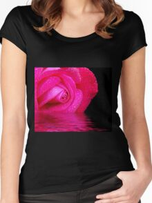 Rose reflected in water Women's Fitted Scoop T-Shirt