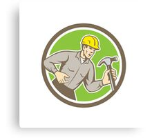 Builder Carpenter Shouting Hammer Circle Retro Canvas Print