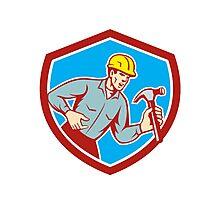 Builder Carpenter Shouting Hammer Shield Retro Photographic Print