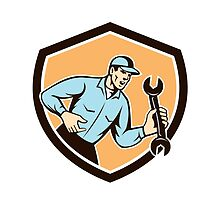 Mechanic Shouting Holding Spanner Wrench Shield Retro by patrimonio