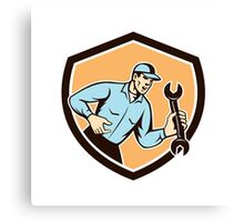 Mechanic Shouting Holding Spanner Wrench Shield Retro Canvas Print