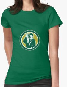 Photographer Aiming Camera Circle Retro Womens Fitted T-Shirt
