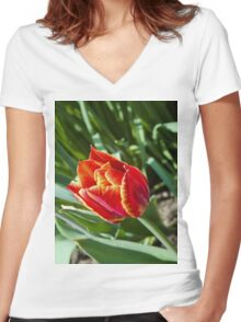 Spring tulip 3 Women's Fitted V-Neck T-Shirt