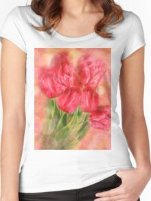 Tulips on Bokeh Background Women's Fitted Scoop T-Shirt
