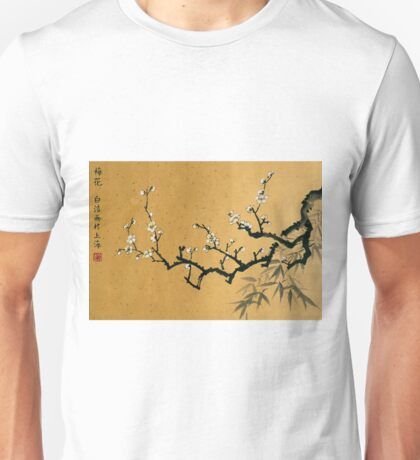 White Plum Blossom With Bamboo Unisex T-Shirt