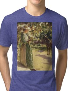 Charles Courtney Curran - Woman With Horse And Carriage (Going For A Drive) Tri-blend T-Shirt