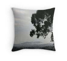 Damp Mountains Throw Pillow