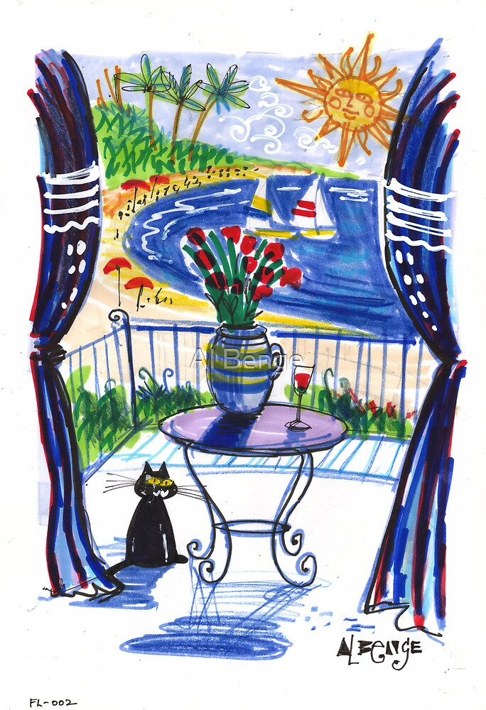Black cat on balcony with red roses by Al Benge