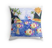 """""""Tropical lagoon with fish and snorkeller Throw Pillow"""