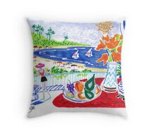 """Fruit bowl on red table overlooking the bay Throw Pillow"