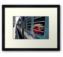 Train boy Framed Print