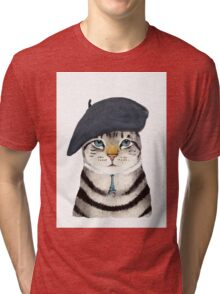 Charming French Cat  Tri-blend T-Shirt
