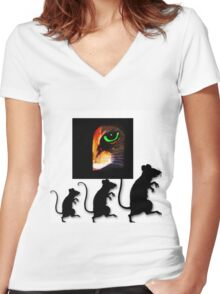 Charming Cat Watching! Women's Fitted V-Neck T-Shirt