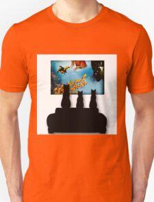 Charming Cats Watching Aquarium Unisex T-Shirt