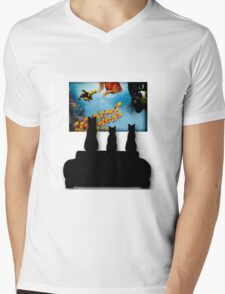 Charming Cats Watching Aquarium Mens V-Neck T-Shirt
