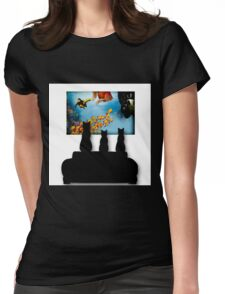 Charming Cats Watching Aquarium Womens Fitted T-Shirt
