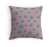 Octopus World - grape Throw Pillow