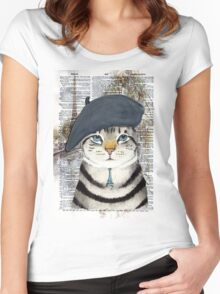 Charming French Cat in Paris. Perfect for cat lovers. Women's Fitted Scoop T-Shirt