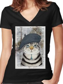Charming French Cat in Paris. Perfect for cat lovers. Women's Fitted V-Neck T-Shirt