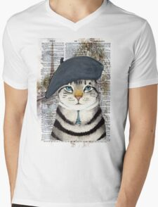 Charming French Cat in Paris. Perfect for cat lovers. Mens V-Neck T-Shirt