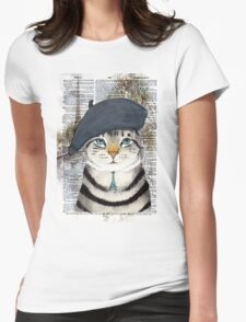 Charming French Cat in Paris. Perfect for cat lovers. Womens Fitted T-Shirt