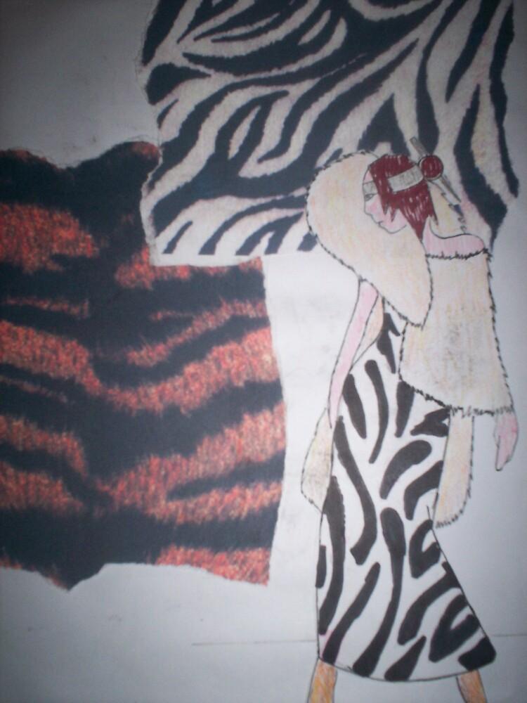 lion mane zebra skin lady colour by originalsin