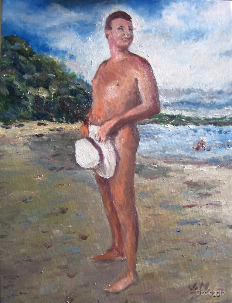 Bob on the beach - (Bob Reed - was president of the Free Beach Association of NSW) by Ozcloggie