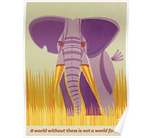 Elephant Conservation Illustration Poster