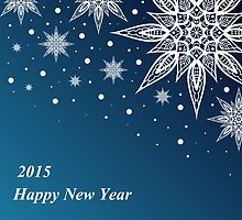 Christmas card with snowflakes on a blue background by Ann-Julia