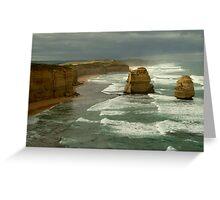 Morning Sunlight and Dark Skies, Great Ocean Rd Greeting Card