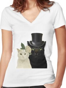 Charming Cats Wedding Women's Fitted V-Neck T-Shirt