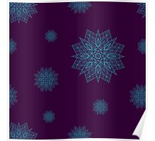 Seamless pattern with snowflakes on violet background Poster