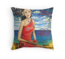 Girl With Mango Throw Pillow