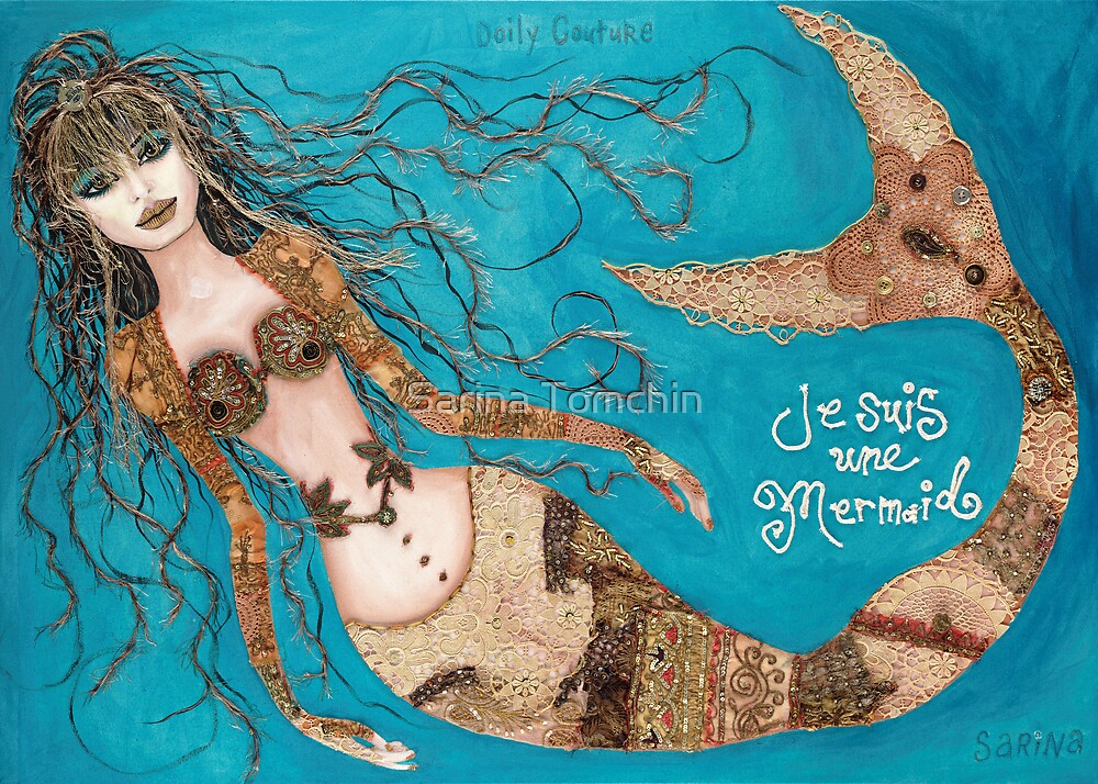 Je Suis Une Mermaid - Sand with Aqua by Sarina Tomchin