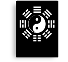 Yin Yang, I Ching, Pure & simple, WHITE on BLACK Canvas Print