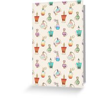 Pretty Perfumes - a pattern of vintage fragrance bottles Greeting Card