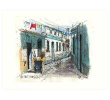 Quiet sidestreet, Ferragudo, Portugal Art Print