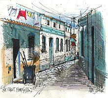 Quiet sidestreet, Ferragudo, Portugal by Al Benge
