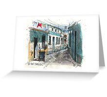 Quiet sidestreet, Ferragudo, Portugal Greeting Card