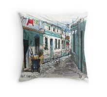 Quiet sidestreet, Ferragudo, Portugal Throw Pillow