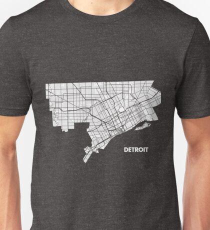 Detroit Street Map - White Unisex T-Shirt