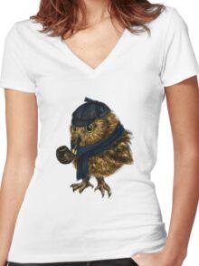Sherlock // owl Women's Fitted V-Neck T-Shirt