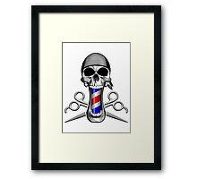 Barber Skull and Scissors Framed Print