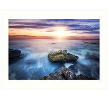 Ocean sunset on the rocks Art Print