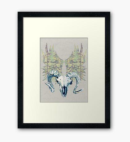 Mystical Sheep Skull - Blue Framed Print