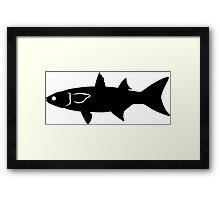 Mullet Fish Silhouette (Black) Framed Print