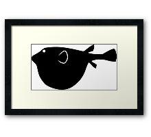 Puffer Fish Silhouette (Black) Framed Print