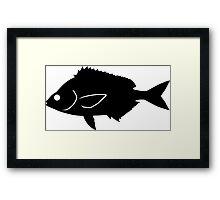 Pinfish Fish Silhouette (Black) Framed Print